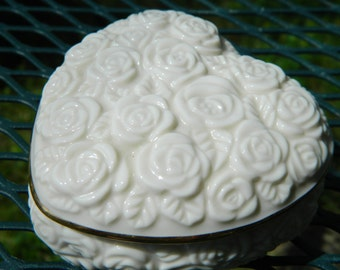 Vintage Lenox Heart Shaped Keepsake Box Rose Pattern