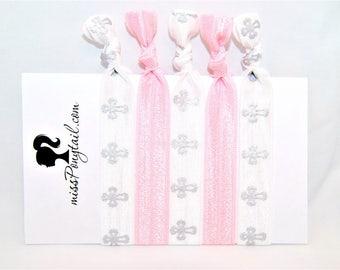 Hair Ties - Religious - Silver Crosses - Light Pink - Elastic Hair Ties - Handmade - Elastic Ribbon - Ponytail Holder - Knotted Hair Ties