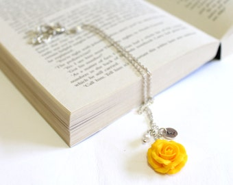 Yellow rose necklace etsy yellow rose necklace yellow pendant personalized initial disc necklace rose charm bridesmaid necklace yellow bridesmaid jewelry mozeypictures Image collections