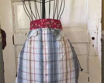 Women's Handmade Plaid and Floral Half Apron, Apron, Kitchen Apron, Baking, Cooking, Gift,