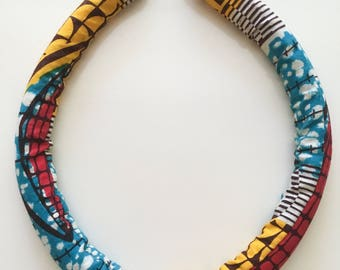 African wax print necklace, choker, collar, statement necklace