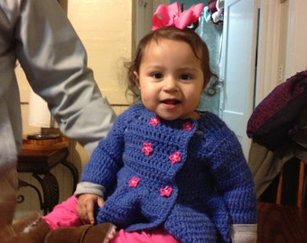 handmade double breasted crochet sweater/coat for baby girl 6 to 9 months size.