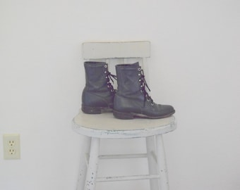 Navy Blue Leather 'Justin' Mid Calf Boots  - Women's 5