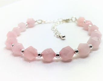 Rose Quartz Sterling Silver Bracelet Pink Gemstone Bracelet Natural Stone Jewellery Pink Jewelry 925 Sterling Silver Unique Gift for Her