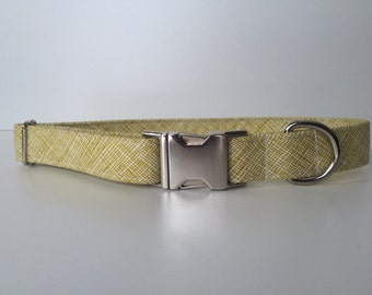 Green Dog Collar, Cross Hatch, Minimalist Pet Collar, Female, Male, Classic Dog Collar with Metal Buckle