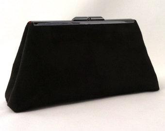 Black Suede Handbag ~ Black Suede Clutch ~ Small Black Evening Clutch ~ Black Cocktail Clutch ~ Small Black Evening Handbag ~ EVClutches