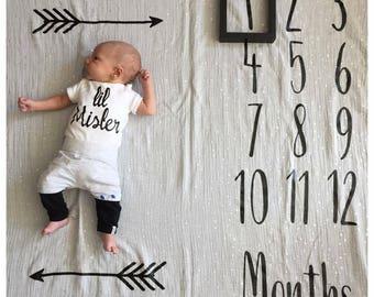 Baby Milestone Blanket, Newborn, Kids, Baby Shower Gift, New Mom, Parents, Baby Girl, Baby Boy, Neutral, Arrows, Muslin