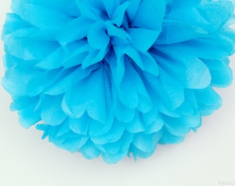 Turquoise Blue Tissue Paper Pom Poms- Wedding, Birthday, Bridal Shower, Baby Shower, Party Decorations, Garden Party