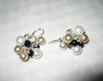 Black Tie  Affair, Bauble Cluster Earrings, Champagne, Soft White, Smokey Quartz Crystal, Hand Knit Original