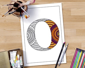 Zentangle Alphabet Coloring Page Letter O Henna Doodle Alphabets Grown Ups Adult Colouring ABC Colour In