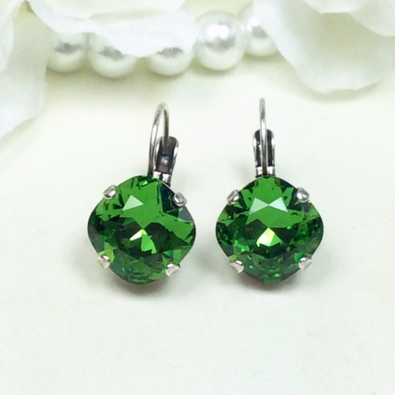 Swarovski Crystal 12MM Cushion Cut, Lever- Back Drop Earrings -  Designer Inspired - Fern Green - On SALE - FREE SHIPPING
