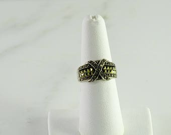 Marcasite Sterling Wide Band Ring Size 6.75