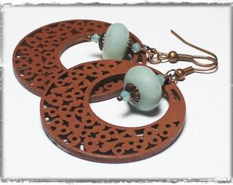 Summer Dusk... Handmade Beaded Jewelry Earrings Light Sky Blue Aqua Brown Wood Crystal Amazonite Gemstone Antique Copper Lightweight Hoops