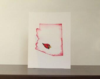 Arizona Cardinals Original Watercolor Painting