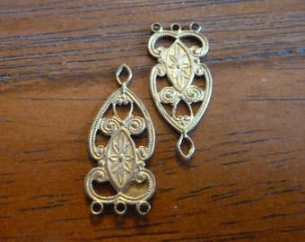 Vintage Brass Connectors, 1960s Intricate Chandelier Filigree Earring or Pendant Drops, Unplated Jewelry Findings, 26x11mm, 2 pcs. (C6)