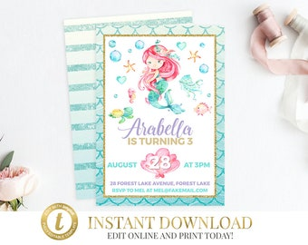 Mermaid Invitation, Mermaid Birthday, Mermaid Party, Under the Sea, Printable Invitation, Little Mermaid, Mermaid, Mermaid Invite Invitation