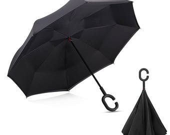 Reverse Folding Inverted Umbrella Double Layer Wind Proof UV Proof Kazbrella