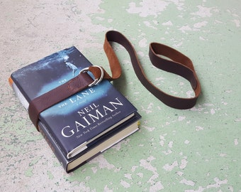Brown Leather Book Belt with Nickel Hardware