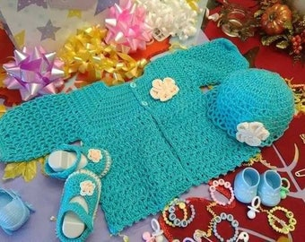 Sweater, hat and booties set for baby girls