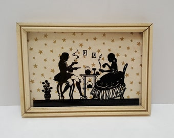 Vintage Colonial Couple Dining Glass Silhouette Picture White Wood Frame