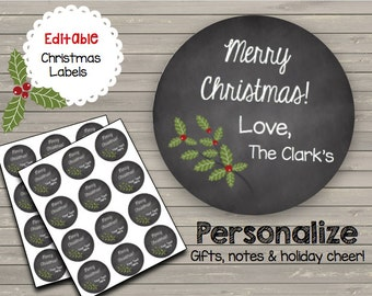 Christmas - EDITABLE - Chalkboard Labels - Gift Tags - Labels - INSTANT DOWNLOAD - Stickers - Custom - Printable
