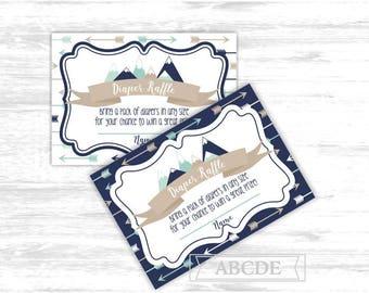 Mountain baby shower diaper raffle game cards Adventure awaits diaper raffle tickets boy arrows baby shower diaper raffle (ADV002)