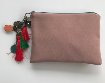Soft dusty pink clutch