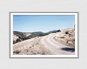 Country Scene Photography, Country Decor And Art, Rural Scene Poster, Digital Download Print, Road To The Mountain Photo, Country Wall Art