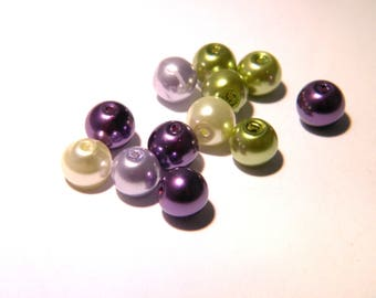 20 beads 8 mm glass-Pearl iridescent purple and green mixture soft - F81