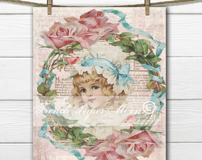 Shabby Digital Victorian Girl with Rose Wreath and French Graphics, Vintage Girl with Bonnet, Instant Download French Transfer Image