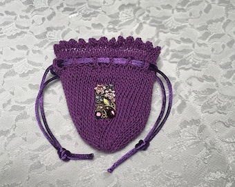 Purple Flower Pouch, Flower, Any Occasion, Bridesmaid's Accessory, Quinceañera Accessory, Wedding Party Gift, (Medium)