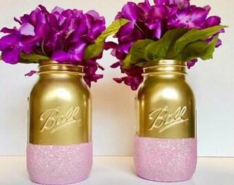 Set Of 2 Quart Size Mason Jars,Birthday Centerpiece, Baby Shower Decor,Wedding Centerpiece, Home Decor.