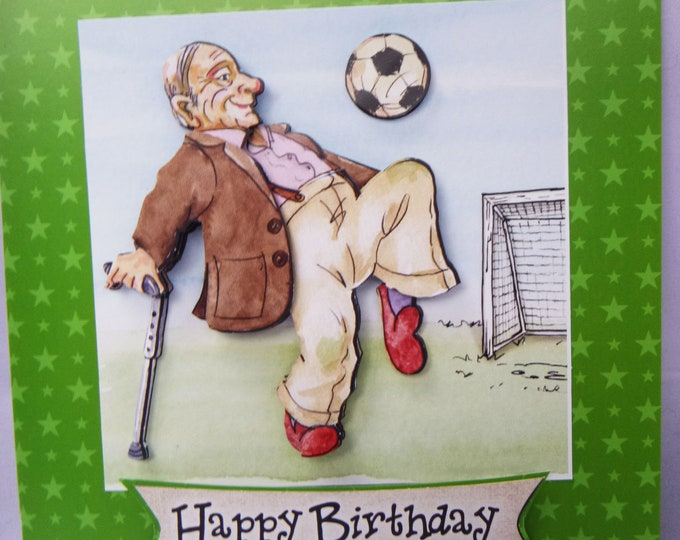 Football Birthday Card, Keeping Active, Special Card, Special Birthday Card, Personalised, Humorous Card, Handmade In The UK