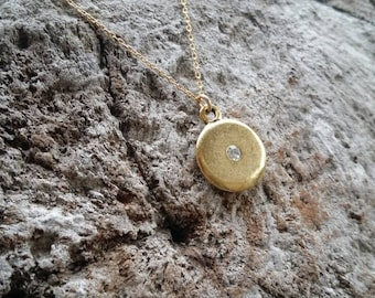 Tiny Gold necklace, Matte Gold Circle, Swarovski Crystal, Gold Charm, Necklace, Small necklace, Crystal necklace, Gold