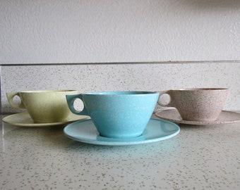 Vintage Set of Three Texas Ware San Jacinto Melamine Teacups and Saucers
