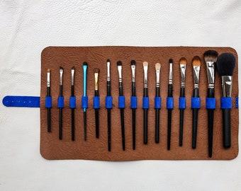 Handmade leather make-up brush roll