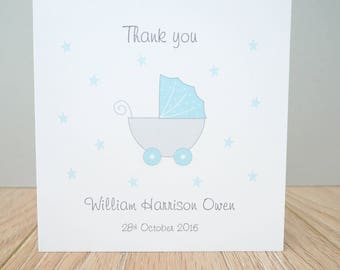 Personalised Baby Thank You Cards - Pack of 10 folded  cards with envelopes