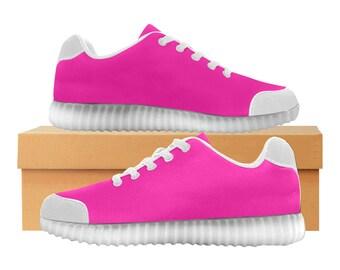 Rose shocking | LED Light Up chaussures | Hommes & femmes tailles | Tige extensible haute | Semelle intérieure en tissu | Recharger | Choisissez noir ou blanc garniture
