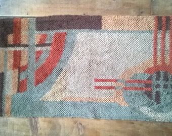 Vintage 1930s Deco abstract latch hook rug, home made, AS IS
