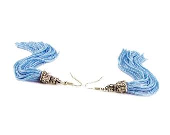 Tassel Earrings, Long Blue tassel earrings, Boho Hippie Bohemian Earrings, Statement Earrings, Tassel Jewelry,  mothers day gift