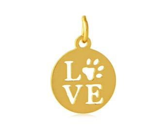 Love Charm Gold Charm Stainless Steel Pet Owner Charm Dog Mom Charm I Love My Dog Charm Dog Pendant Love Pendant Charm with Jump Ring