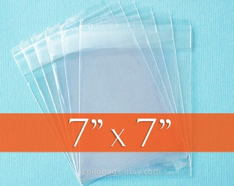 100 7 x 7 Inch Square Clear Resealable Cello Bags, Plastic Packaging, Acid Free