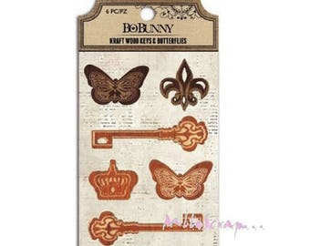 BO BUNNY key and Butterfly embellishment (ref.210) scrap wood *.