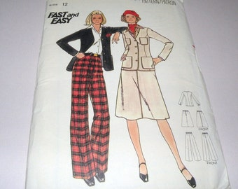 1970s Butterick 5019 Jacket, Skirt and Pants size 12 Complete and Uncut