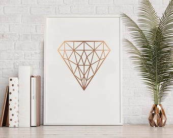 Geometric Red Gold Diamond Print, Diamond Art, Geometric Diamond Poster, Print, Scandinavian Print, Printable Wall Art, Jewelry Stone