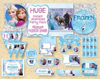 ON SALE**Limited Time** Frozen Printable Party Pack, Instant Download, Disney Frozen birthday invitation, Frozen Movie, Frozen birthday