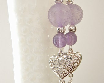 Earrings With Amethyst, Sterling Silver, and Swarovski Crystals