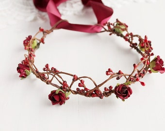 Marsala Bridal Crown, Deep Red Halo, Burgundy Rose Crown, Woodland Headband, Red Rose Crown, Rustic Head Piece, Flower Girl Crown, Boho Halo