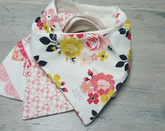 Baby Bib-Bandana Bib-Baby Bandana Bib-Baby Girl Bib-Organic Terry Cloth Bib-Drool Bib-Cotton Bandana Bib-Baby Shower Gift-Set of 3 Bibs