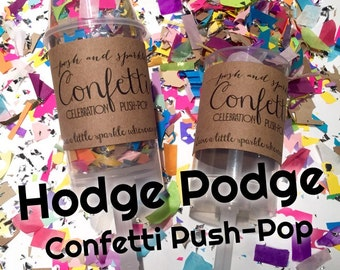Hodge Podge Recycled Confetti Push-Pop - Repurposed Confetti Party Popper - Celebration Push Pop
